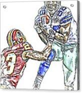 Dallas Cowboys Dez Bryant Washington Redskins Deangelo Hall Acrylic Print by Jack K