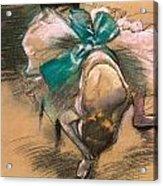 Dancer Tying Her Shoe Ribbons Acrylic Print by Edgar Degas