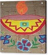 Decorative Earthen Diya Rangoli Acrylic Print by Sonali Gangane