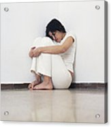 Depressed Woman Acrylic Print by Cristina Pedrazzini