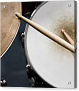 Detail Of Drumsticks And A Drum Kit Acrylic Print by Antenna