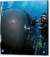 Divers Prepare To Launch A Seal Acrylic Print by Stocktrek Images