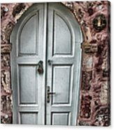 Door In Santorini Acrylic Print by Tom Prendergast