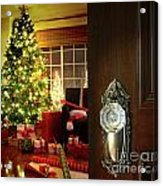 Door Opening Into A Christmas Living Room Acrylic Print by Sandra Cunningham