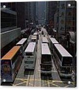 Double Decker Buses In The Streets Acrylic Print by Justin Guariglia