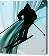 Downhill Skiing On Icy Ribbons Acrylic Print by Elaine Plesser