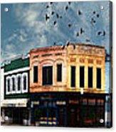 Downtown Bryan Texas Panorama 5 To 1 Acrylic Print by Nikki Marie Smith