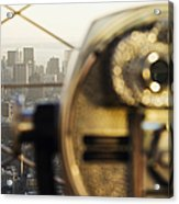 Downtown Manhattan Behind Coin Operated Binoculars Acrylic Print by Jeremy Woodhouse