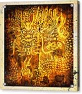 Dragon Painting On Old Paper Acrylic Print by Setsiri Silapasuwanchai