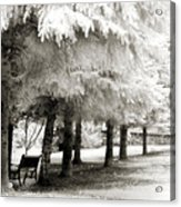 Dreamy Surreal Infrared Park Bench Landscape Acrylic Print by Kathy Fornal