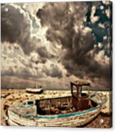 Dreamy Wrecked Wooden Fishing Boats Acrylic Print by Meirion Matthias