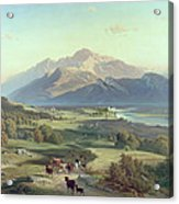 Drover On Horseback With His Cattle In A Mountainous Landscape With Schloss Anif Salzburg And Beyond Acrylic Print by Josef Mayburger