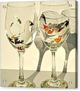 Ducks On Wineglasses Acrylic Print by Pauline Ross