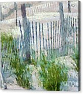 Dune Fences At Cape Hatteras National Seashore Acrylic Print by Anne Kitzman