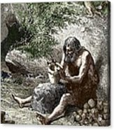 Early Human Making Pottery Acrylic Print by Sheila Terry
