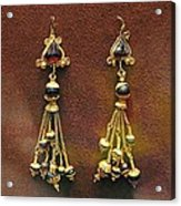 Earrings With Garnets Acrylic Print by Andonis Katanos