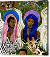 Earthangels Abeni And Adesina From Africa Acrylic Print by The Art With A Heart By Charlotte Phillips