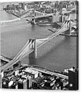 East River Bridges New York Acrylic Print by Gary Eason