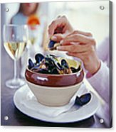 Eating Mussels Acrylic Print by David Munns