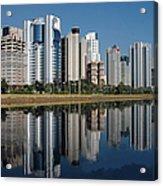 Edifícios Na Marginal Pinheiros (são Paulo) Acrylic Print by Photo Antonio Larghi (Fotografia)
