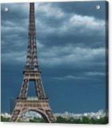 Eiffel Tower On A Stromy Weather Acrylic Print by Mihaela Muntean