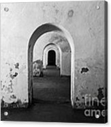 El Morro Fort Barracks Arched Doorways San Juan Puerto Rico Prints Black And White Acrylic Print by Shawn O'Brien