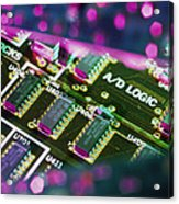 Electronic Circuit Board From A Computer Acrylic Print by Steve Horrell