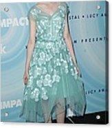Elle Fanning Wearing A Dress By Marc Acrylic Print by Everett
