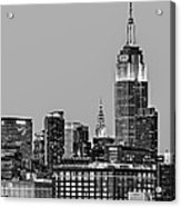 Empire State Bw Acrylic Print by Susan Candelario