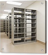 Empty Metal Shelves Acrylic Print by Jetta Productions, Inc