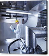 Engineer Servicing Air Conditioning Acrylic Print by Tek Image