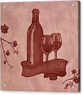 Enjoying Red Wine  Painting With Red Wine Acrylic Print by Georgeta  Blanaru