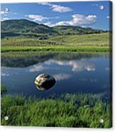 Erratic Boulder And Small Pond In Lamar Valley Acrylic Print by Altrendo Nature