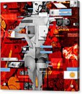 Eva Peron Nude En Rouge Acrylic Print by Karine Percheron-Daniels