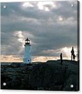 Evening At Peggy's Cove Acrylic Print by John G Schickler