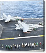 Fa-18 Aircraft Prepare To Take Acrylic Print by Stocktrek Images
