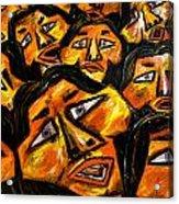 Faces Yellow Acrylic Print by Karen Elzinga