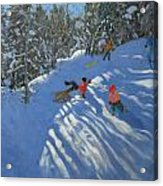 Falling Off The Sledge Acrylic Print by Andrew Macara