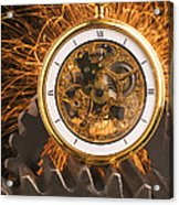 Fancy Pocketwatch On Gears Acrylic Print by Garry Gay