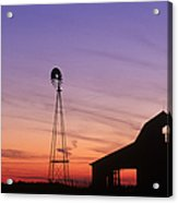 Farm At Sunset Acrylic Print by David Davis and Photo Researchers