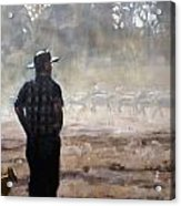 Farmer And Sheep Acrylic Print by Gaye White