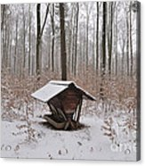 Feed Box In Winterly Forest Acrylic Print by Matthias Hauser