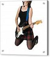 Female Guitarist Jumps  Acrylic Print by Ilan Rosen