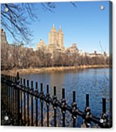 Fence With Twin Towers, San Remo Acrylic Print by Federica Gentile