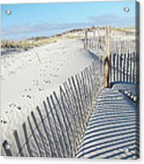Fences Shadows And Sand Dunes Acrylic Print by Mother Nature