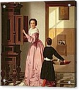 Figures In A Laundryroom Acrylic Print by Gustaaf Antoon Francois Heyligers