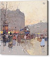 Figures In The Place De La Bastille Acrylic Print by Eugene Galien-Laloue