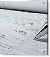 Filling Out Deposit Slip Acrylic Print by Blink Images