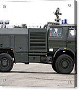 Fire Engine Of The Belgian Army Located Acrylic Print by Luc De Jaeger
