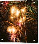 Fireworks In Night Sky Acrylic Print by Garry Gay